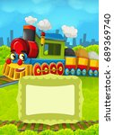 cartoon train scene with space... | Shutterstock . vector #689369740