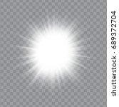 white glowing light burst... | Shutterstock .eps vector #689372704