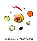 vector flying ingredients ... | Shutterstock .eps vector #689374060