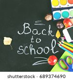 "chalk on black chalkboard ""back ... 