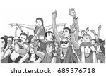 illustration of mixed ethnic... | Shutterstock .eps vector #689376718