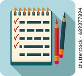 notepad with tasks flat icon | Shutterstock .eps vector #689377894