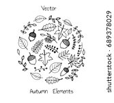 vector hand drawn set of autumn ... | Shutterstock .eps vector #689378029