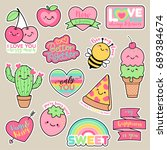 Stock vector set of girl fashion patches cute cartoon badges fun stickers design vector for romantic love 689384674
