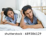 couple have sex problems on the ... | Shutterstock . vector #689386129
