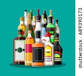 alcohol drinks collection.... | Shutterstock .eps vector #689390173