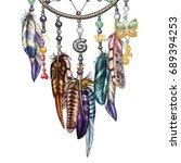 hand drawn ornate dream catcher ... | Shutterstock .eps vector #689394253