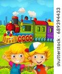 cartoon train scene with happy... | Shutterstock . vector #689394433