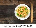 an overhead photo of a shrimp... | Shutterstock . vector #689394658