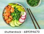 an overhead photo of poke ... | Shutterstock . vector #689394670