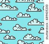 seamless line art clouds pattern | Shutterstock . vector #689405200