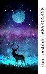 deer silhouette in front of... | Shutterstock . vector #689405458