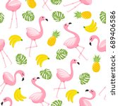 tropical flamingo pattern | Shutterstock .eps vector #689406586