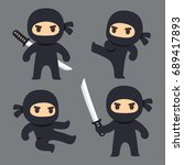 cute cartoon ninja with katana... | Shutterstock .eps vector #689417893