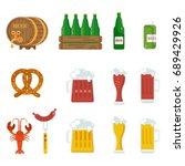 beer icons set. beer feast  bar ... | Shutterstock .eps vector #689429926