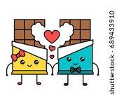 cute kawaii chocolate couple ... | Shutterstock .eps vector #689433910