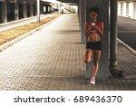 female runner  relaxing after...   Shutterstock . vector #689436370