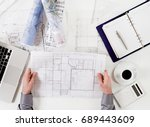 architect at desk | Shutterstock . vector #689443609