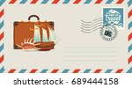 postal envelope with stamp and... | Shutterstock .eps vector #689444158