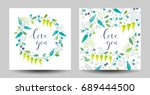set of the stylized flowers and ... | Shutterstock .eps vector #689444500
