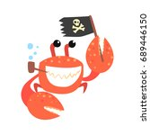 Funny Cartoon Crab Pirate...
