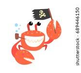 Funny Cartoon Crab Pirate...
