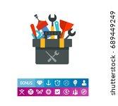 plumber tools kit vector icon | Shutterstock .eps vector #689449249