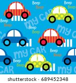 colorful toy cars seamless...   Shutterstock .eps vector #689452348