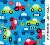 colorful toy vehicles seamless... | Shutterstock .eps vector #689452378