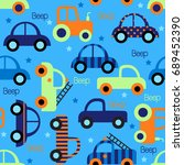 colorful toy vehicles seamless...   Shutterstock .eps vector #689452390