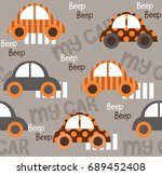 colorful toy cars seamless... | Shutterstock .eps vector #689452408