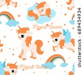 cute unicorns seamless pattern  ...   Shutterstock .eps vector #689454934