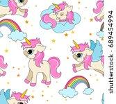 cute unicorns seamless pattern  ...   Shutterstock .eps vector #689454994
