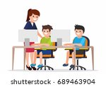 teacher helping elementary... | Shutterstock .eps vector #689463904