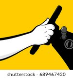 man hands holding steering wheel | Shutterstock .eps vector #689467420