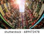 late morning sun peeks through... | Shutterstock . vector #689472478