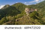 aerial view from ruined poenari ... | Shutterstock . vector #689472520