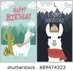 happy birthday card with cute... | Shutterstock .eps vector #689474323