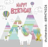 happy birthday card with cute...   Shutterstock .eps vector #689474326