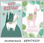 happy birthday card with cute... | Shutterstock .eps vector #689474329