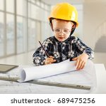 young boy want to be engineer... | Shutterstock . vector #689475256