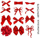 set of decorative red bows... | Shutterstock .eps vector #689475478