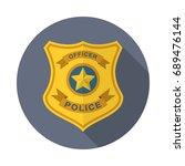 police badge in flat style with ... | Shutterstock .eps vector #689476144