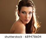 beauty portrait of young female ... | Shutterstock . vector #689478604