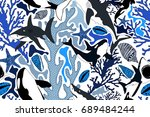 seamless wild pattern with... | Shutterstock .eps vector #689484244