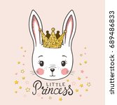 cute bunny girl with crown.... | Shutterstock .eps vector #689486833