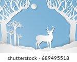 deer standing in meadow. nature ...   Shutterstock .eps vector #689495518