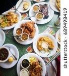 table of soul food for sunday... | Shutterstock . vector #689498419