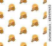 cinnamon  star anise  orange...   Shutterstock .eps vector #689499643