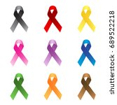 nine different colour ribbons.... | Shutterstock .eps vector #689522218